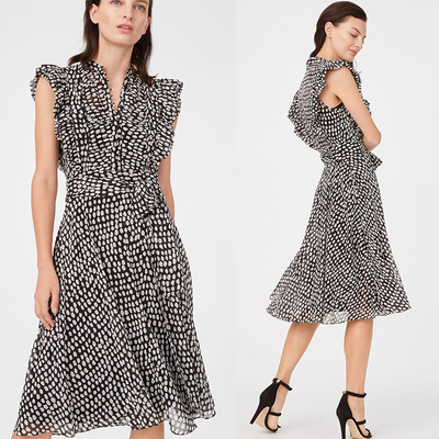 Summer Ruffle polka Dot Midi Dress Dress Nữ Casual
