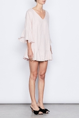 Women Fashion Plus Size Elbow Bell Sleeve Linen Bow Tie Mini Dress for Women